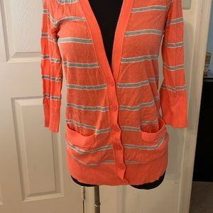 Coral and grey stripped cardigan